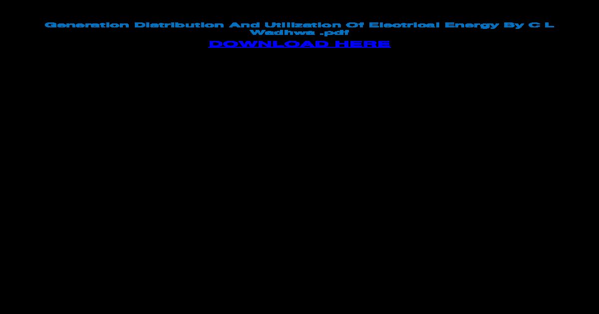 Utilization Of Electrical Energy Pdf