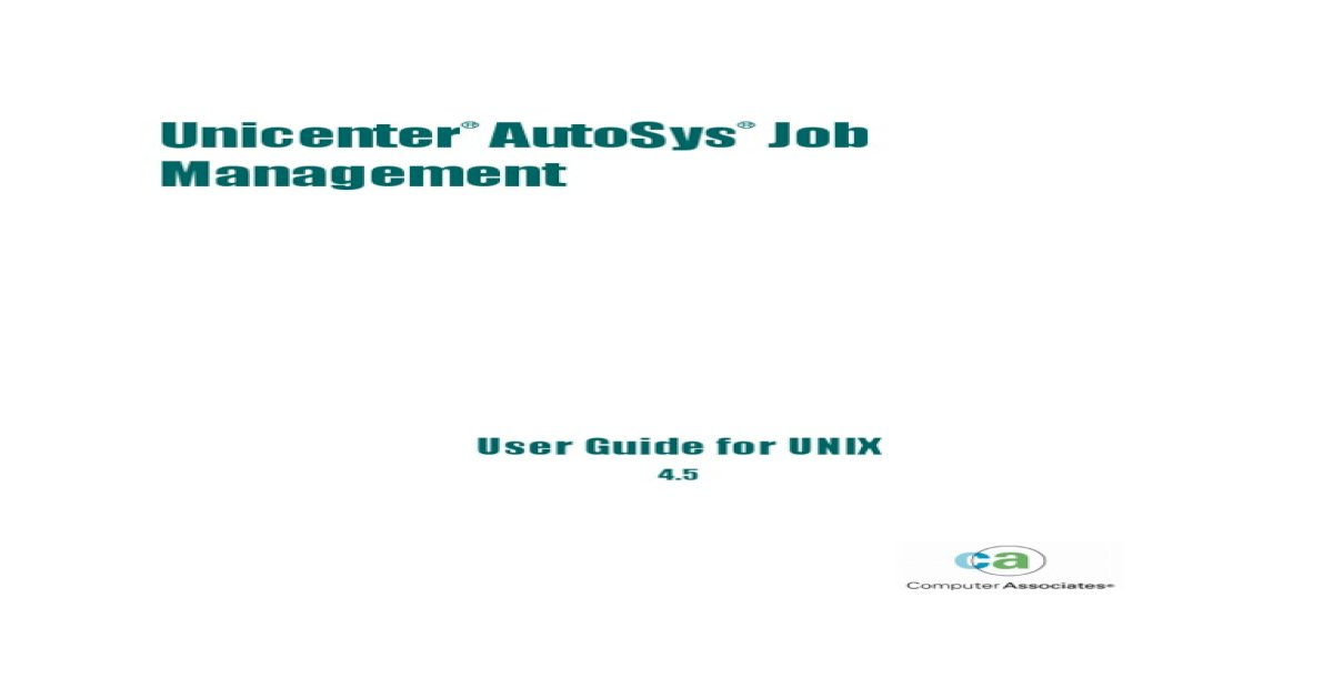 Autosys User Guide for UNIX
