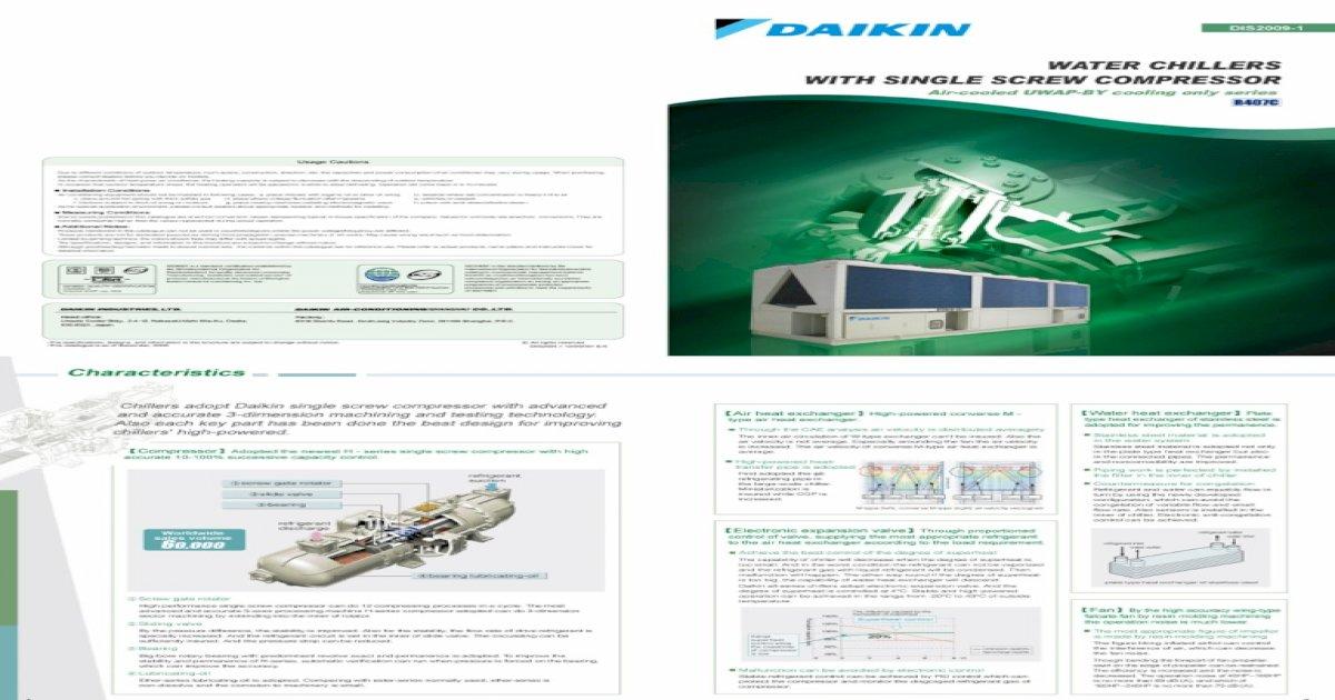 Water Chiller Daikin - Single Screw Compressor - UWAP BY1 catalogue