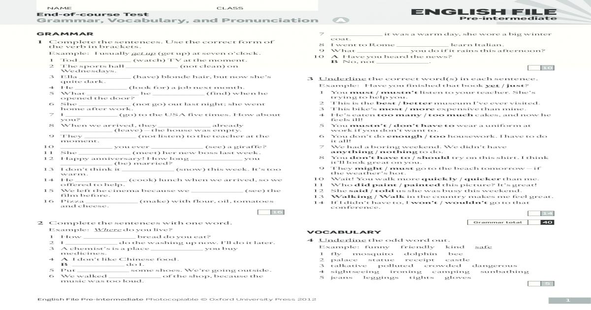 New English File Pre-intermediate Teachers Book With Test