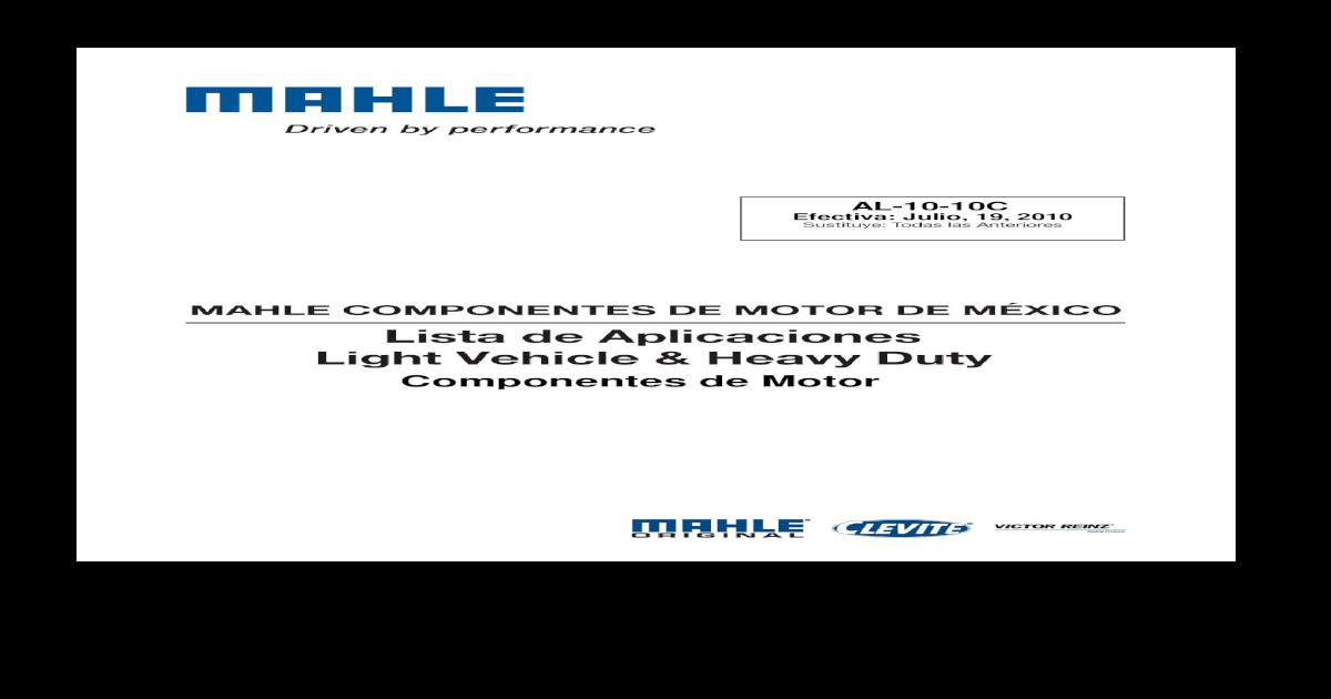 Componentes de Motor - orma com mx ? AL-10-10C Efectiva: Julio, 19