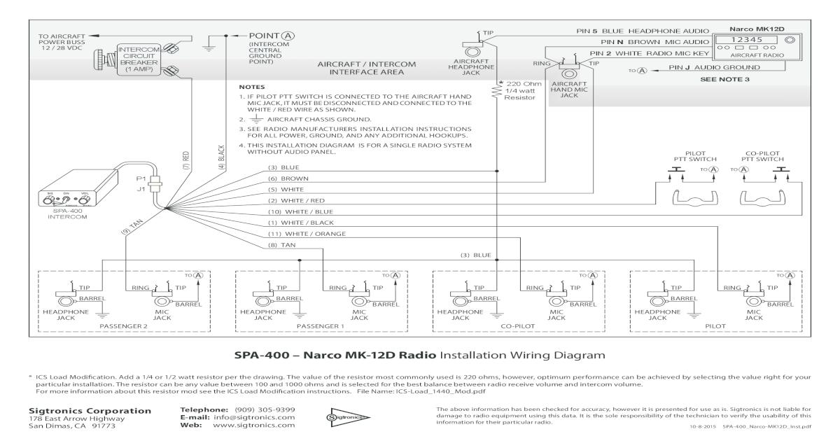 SPA-400 Narco MK-12D Radio Installation Wiring Diagram on