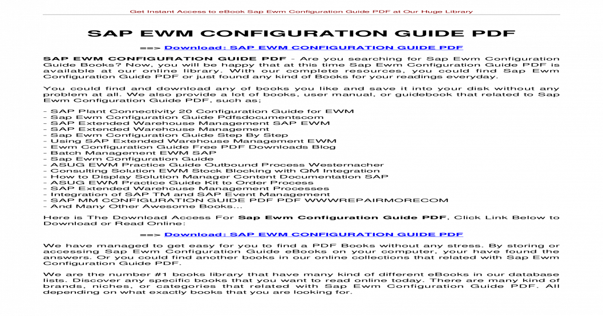 SAP EWM CONFIGURATION GUIDE PDF - Instant Access to eBook Sap Ewm