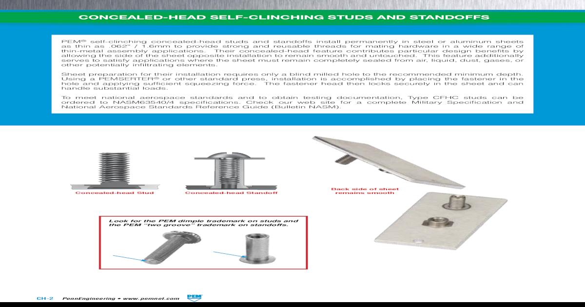 Pem Press-in Threaded Inserts Unified PKB-832 Straight Knurl