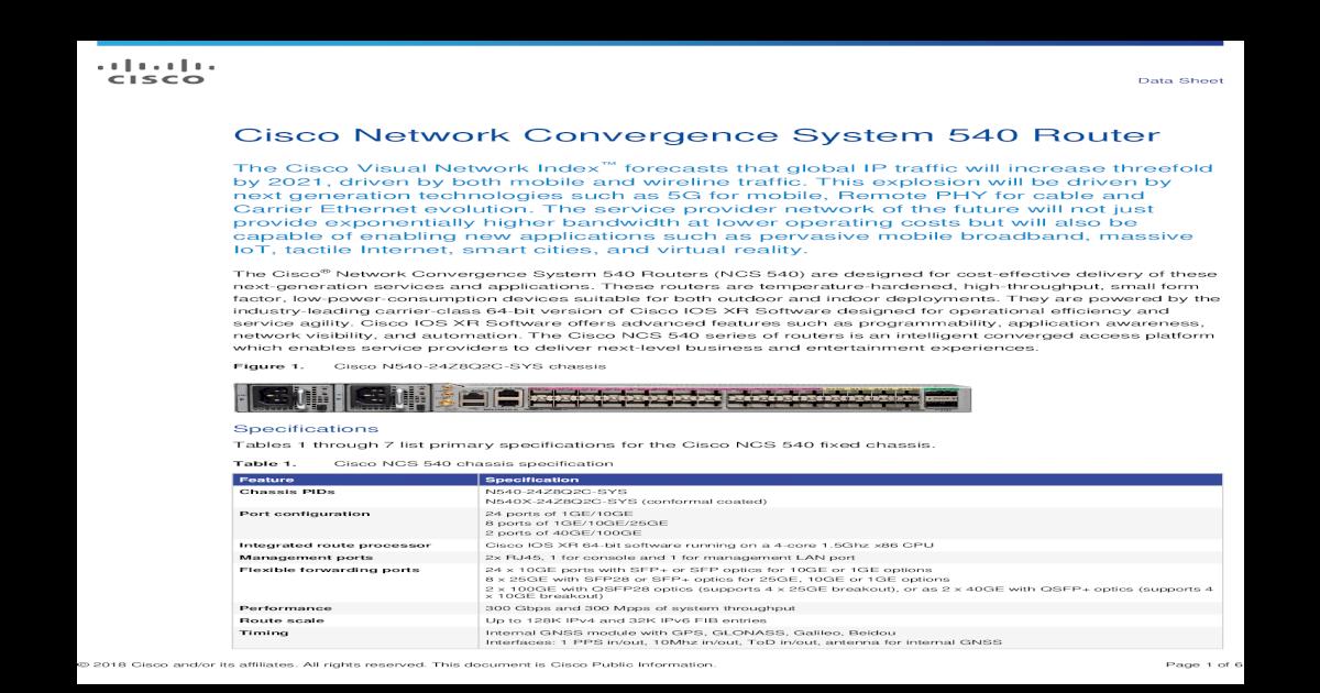 Cisco Network Convergence System 540 Router Data Sheet Internal GNSS