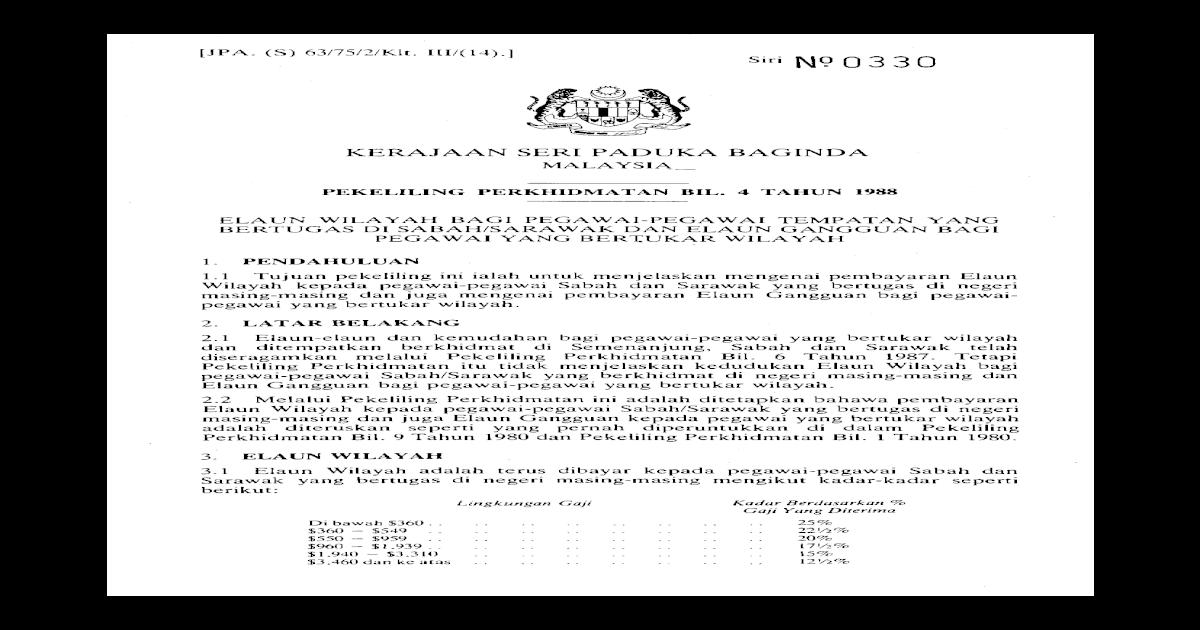 Pekeliling Perkhidmatan Bilangan 4 Tahun 1988