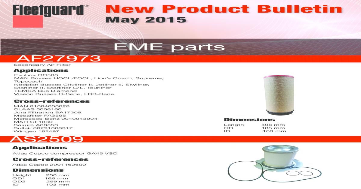 New Product Bulletin - Cummins Product Bulletin May 2015