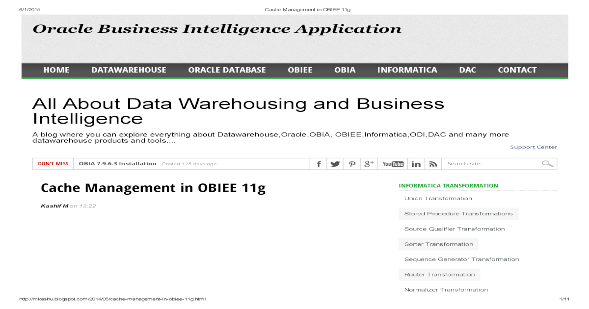 Cache Management in OBIEE 11g