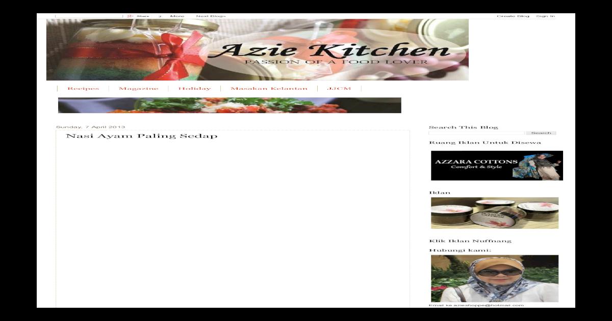 Azie Kitchen Nasi Ayam Paling Sedappdf