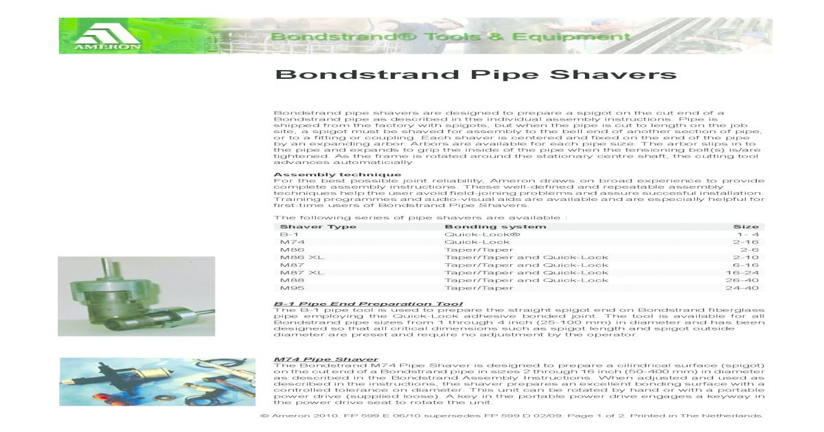 72612059 Bond Strand Pipe Shavers