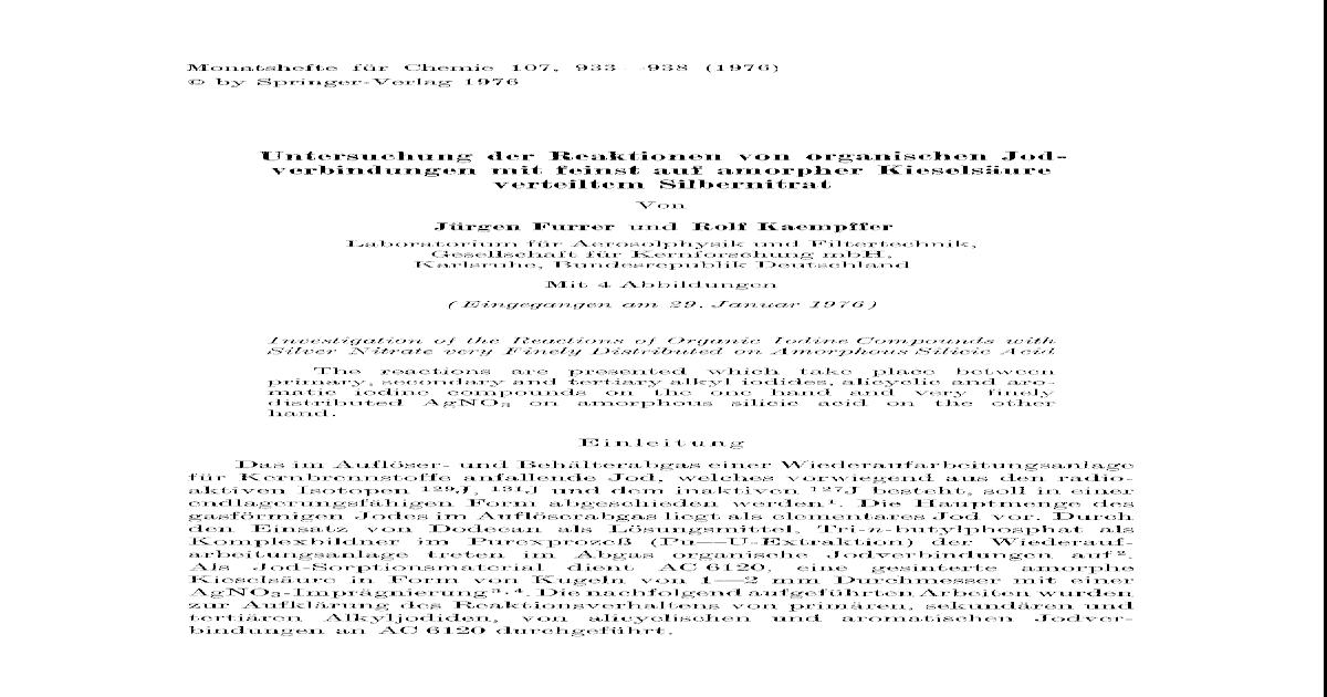 Untersuchung Der Reaktionen Von Organischen Jodverbindungen