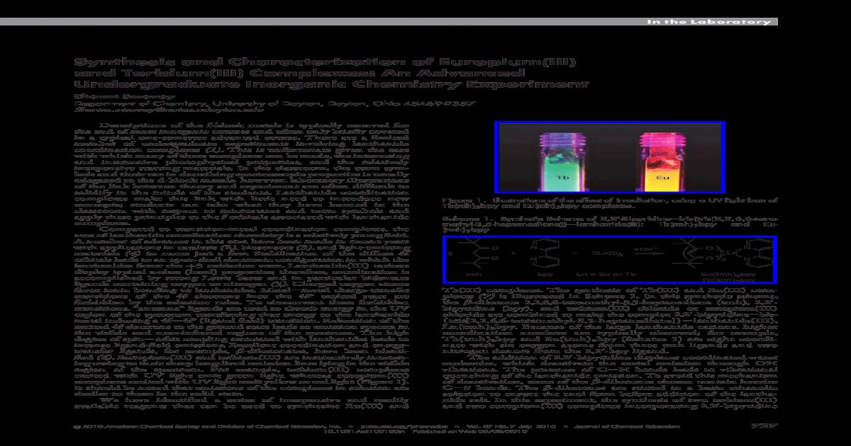 Synthesis and Characterization of Europium(III) and Terbium(III