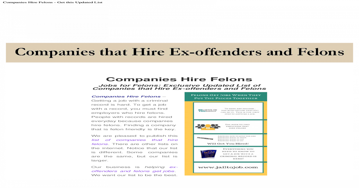 Jobs for Ex-offenders and Felons: Updated list of companies