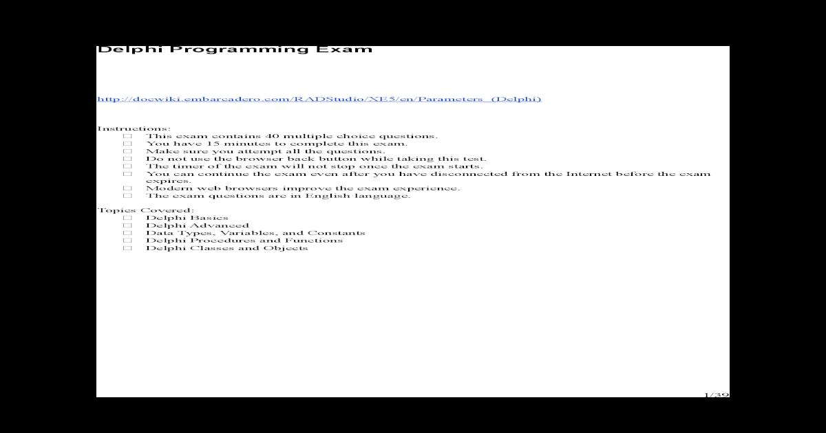 Delphi Programming Exam