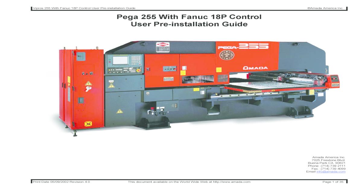 Pega 255 With Fanuc 18P Control User Pre-installation Guide
