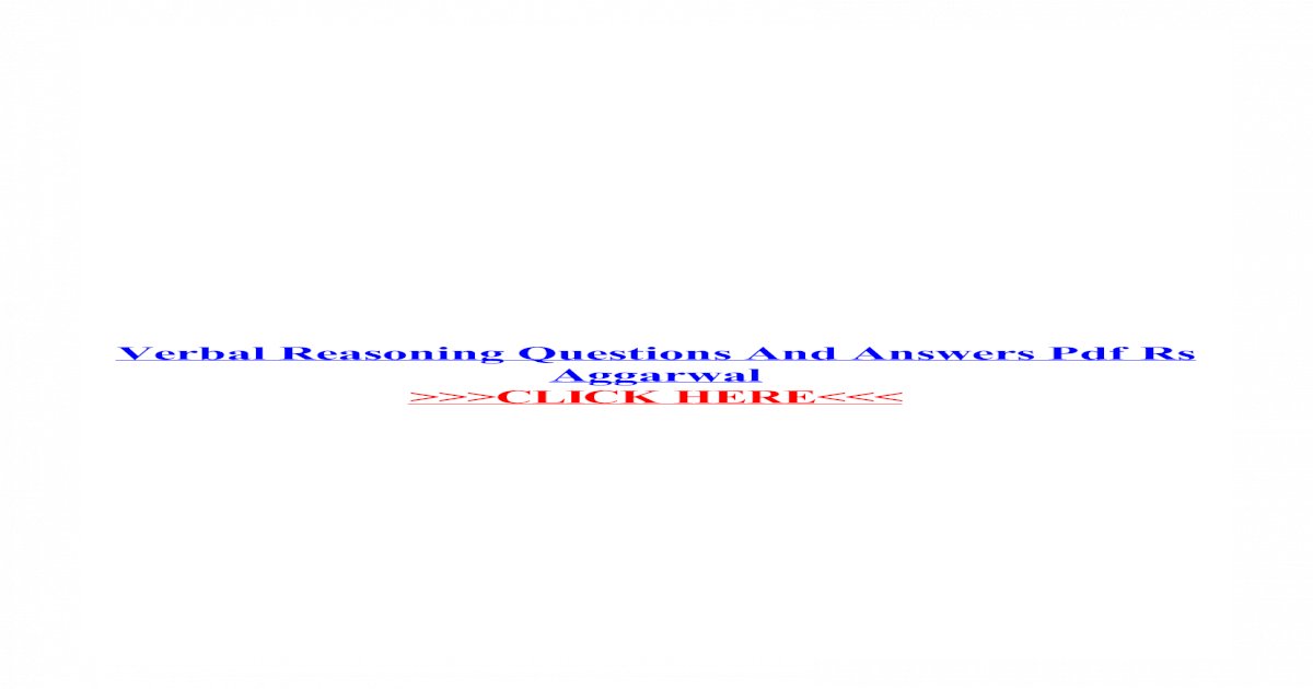 Rs Aggarwal Logical Reasoning Pdf 2015
