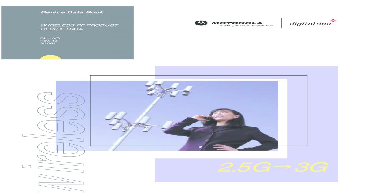 Device Data Book - MOTOROLA WIRELESS RF PRODUCT DEVICE DATA ABOUT