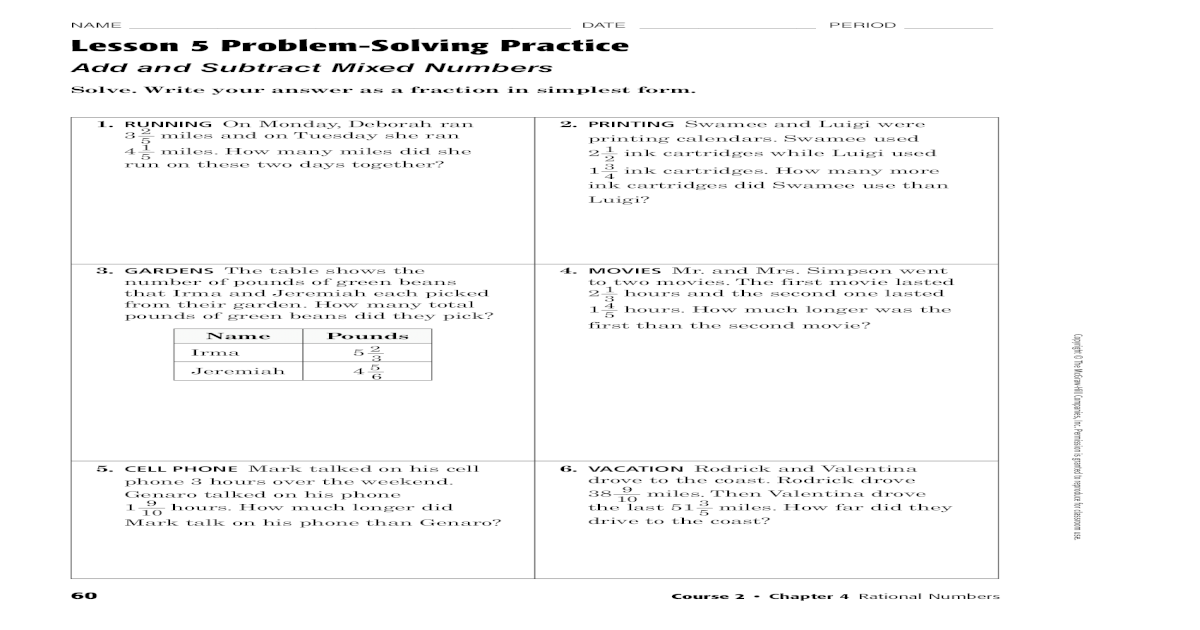 NAME DATE PERIOD Lesson 5 Problem-Solving Practice   Write