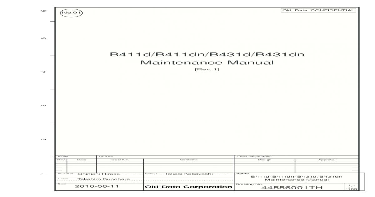 B411d/B411dn/B431d/B431dn Maintenance Maintenance Manual