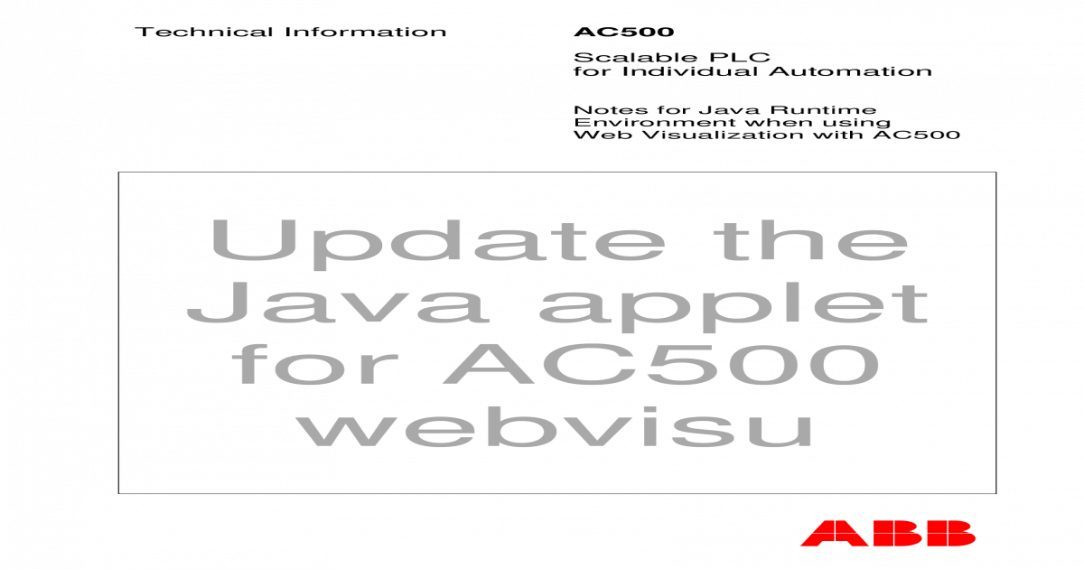 Update the Java applet for AC500 webvisu - Are you human
