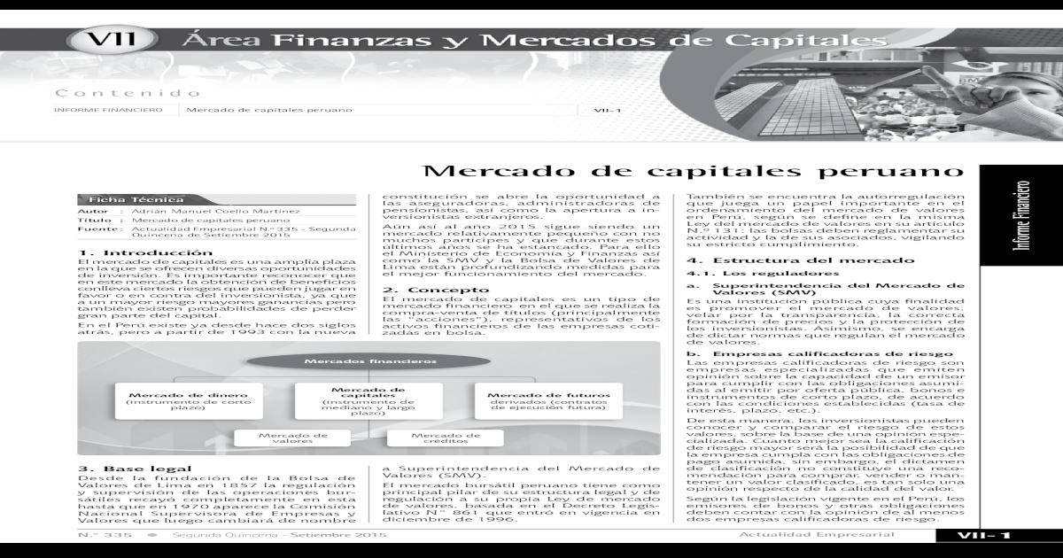 Mercado De Capitales Peruano Valores De Lima Es Un