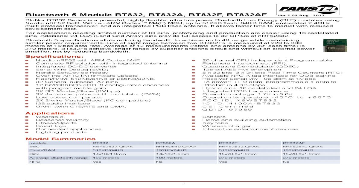 BlueNor BT832 datasheets - Squarespace P26/SDA 38 P0 26 GPIO