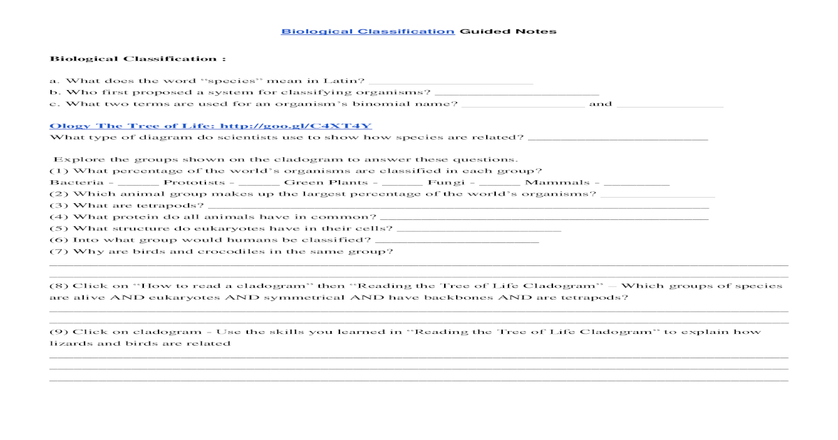 Biological Classification Worksheet Answer Key - Nidecmege