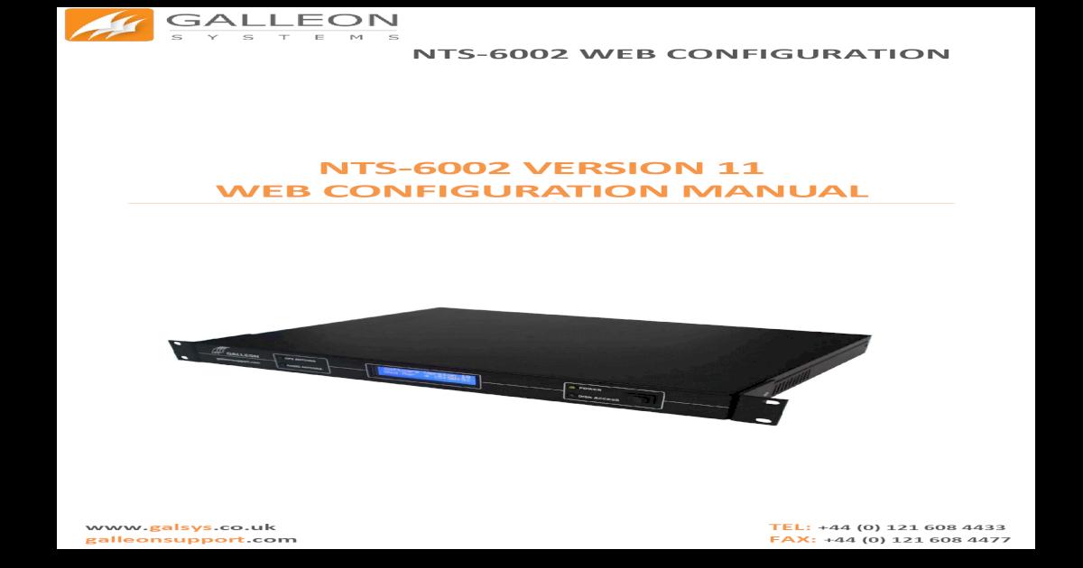 NTS-6002 VERSION 11 WEB CONFIGURATION VERSION 11   WEB