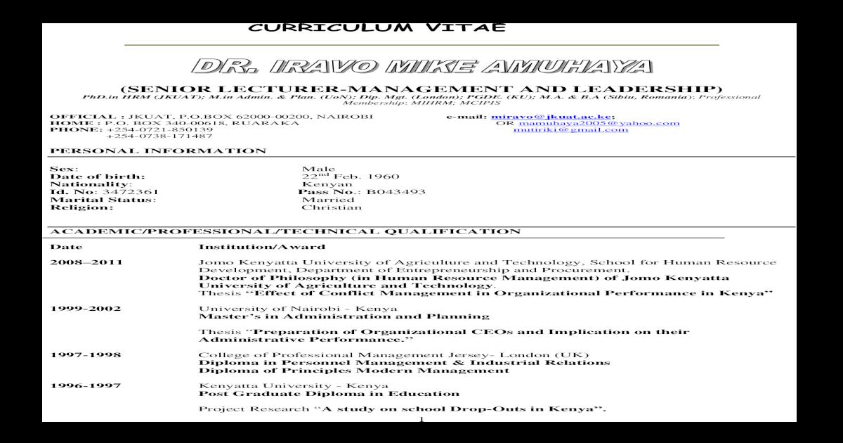 CURRICULUM VITAE - Jomo Kenyatta University of VITAE (SENIOR