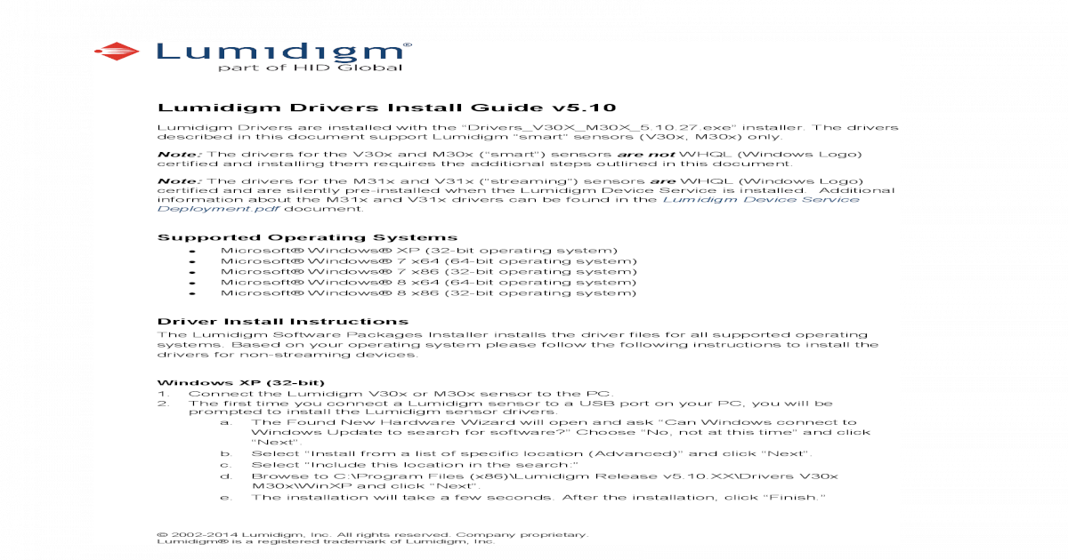 Lumidigm Drivers Install Guide - HID Global Drivers Install