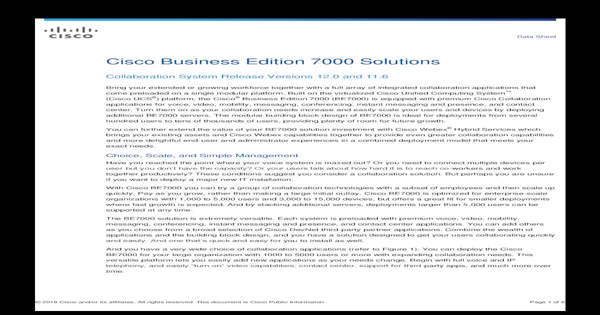 Cisco Business Edition 7000 Solutions Data     2017 Cisco