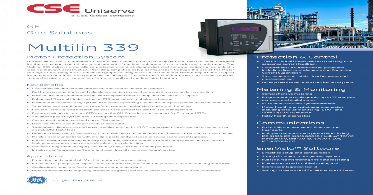 Multilin 339 - CSE-Uniserve Control The Multilin 339 is a ... on