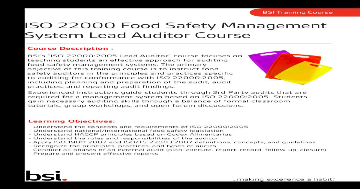 Food Lead Auditor Course
