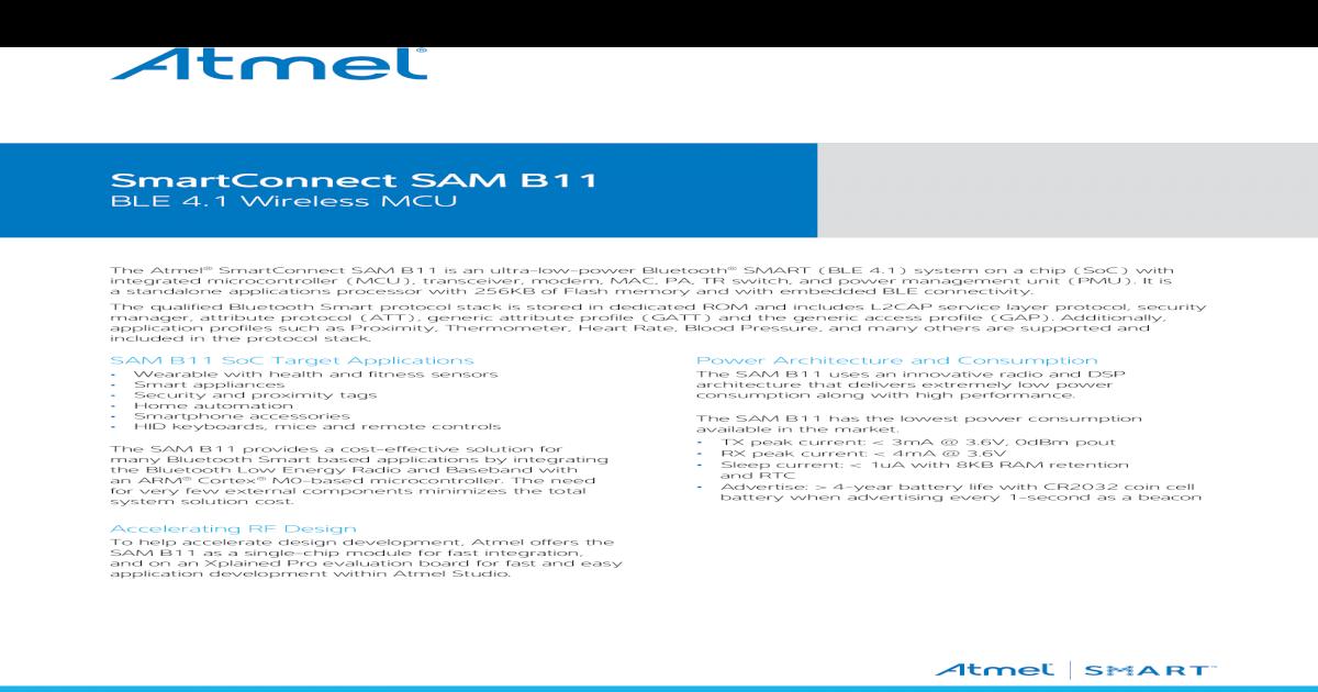 SmartConnect SAM B11 - Farnell SAM B11 BLE 4 1 Wireless MCU