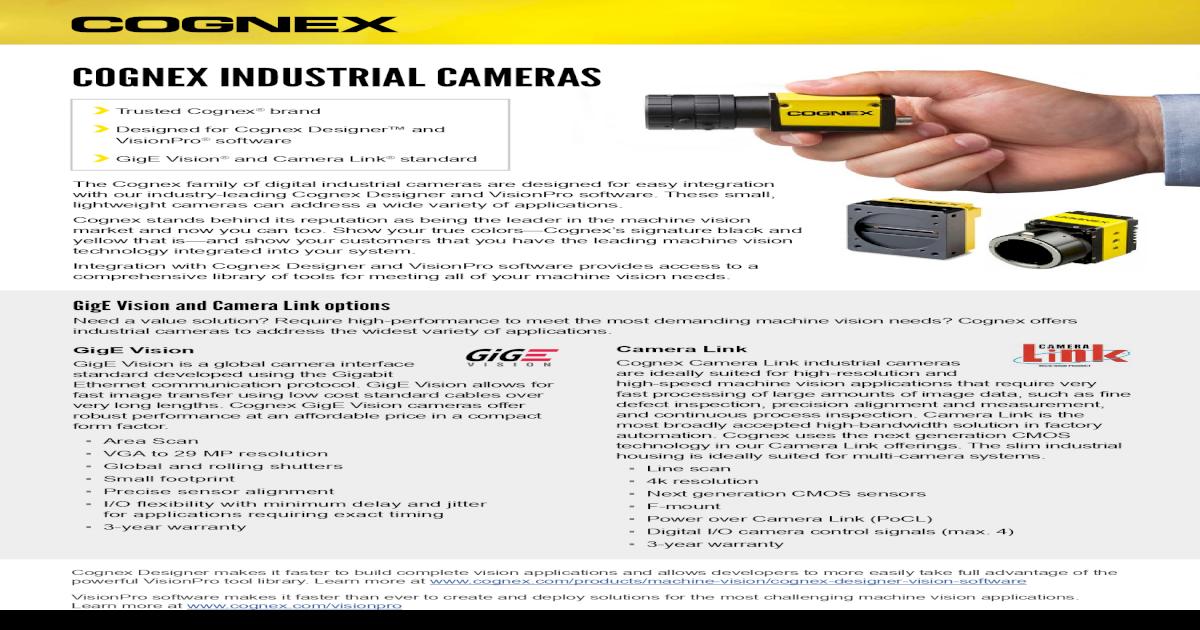 COGNEX INDUSTRIAL CAMERAS - Cognex Partner Industrial