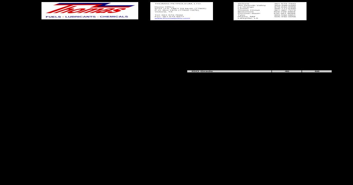 AW HYDRAULIC OILS - Thomas HYDRAULIC OILS ISO 46, 68 CUSTOMER