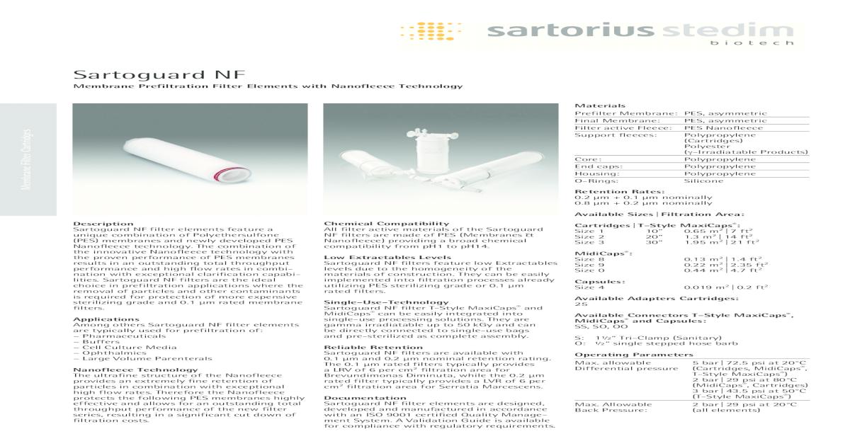 Sartoguard NF - Extractables Sartoguard NF filter elements
