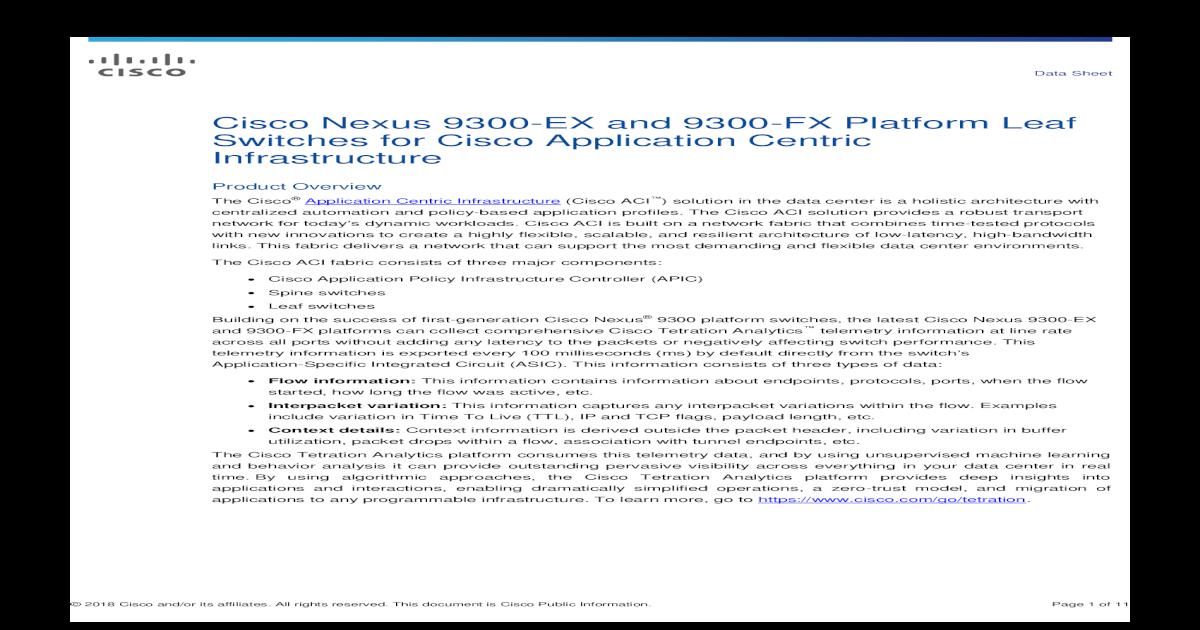 Cisco Nexus 9300-EX and 9300-FX Platform Leaf Cisco