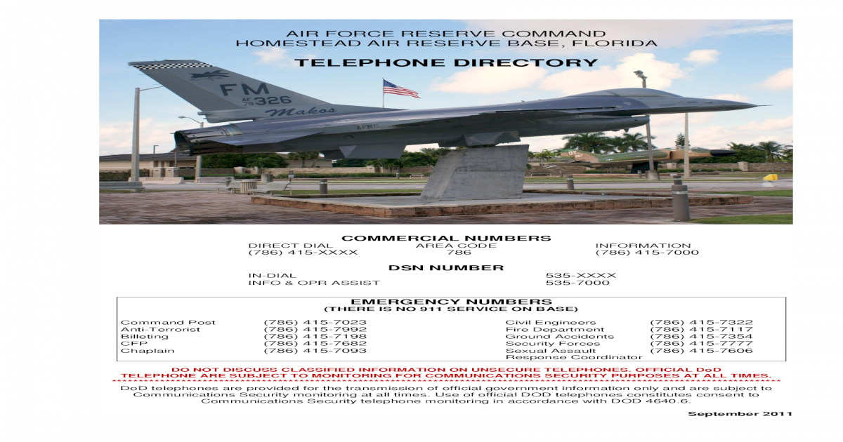 TELEPHONE DIRECTORY - Homestead Air Reserve force reserve command