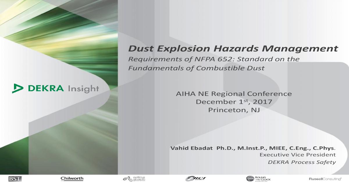 Dust Explosion Hazards Management Explosion Hazards