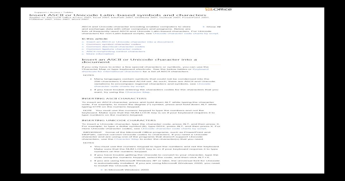 Insert ASCII or Unicode Latin-Based Symbols and Characters - Access