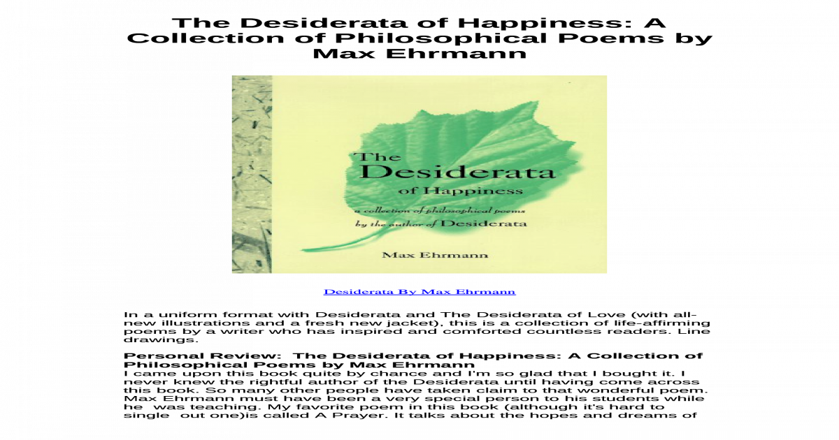 The Desiderata Of Happiness A Collection Of Philosophical