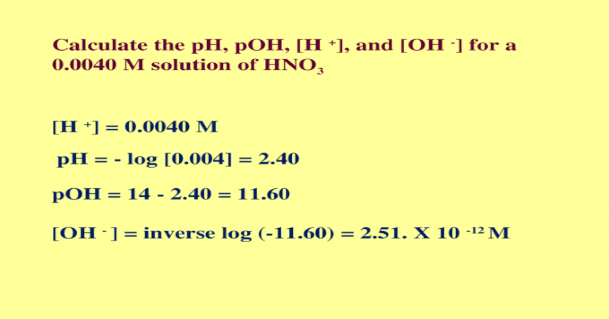 Calculate the pH, pOH, [H + ], and [OH - ] for a 0.0040 M solution ...