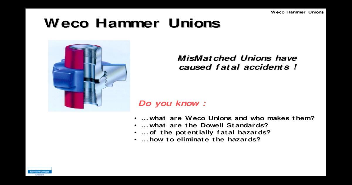 WECO Hammer Union Alert pdf