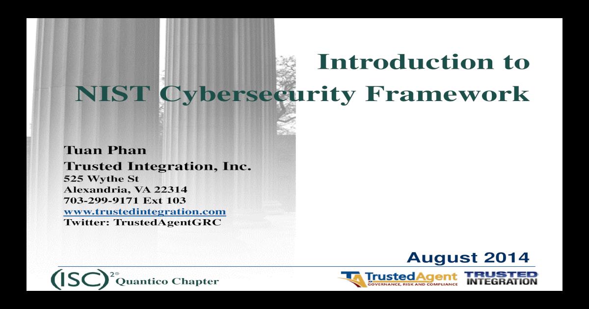 Nist cybersecurity framework isc2 quantico