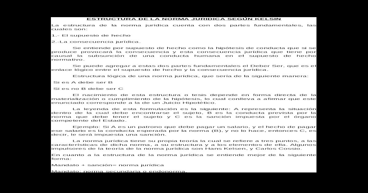 Estructura De La Norma Juridica Segn Kelsin