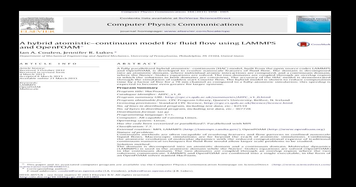 A hybrid atomisticcontinuum model for fluid flow using
