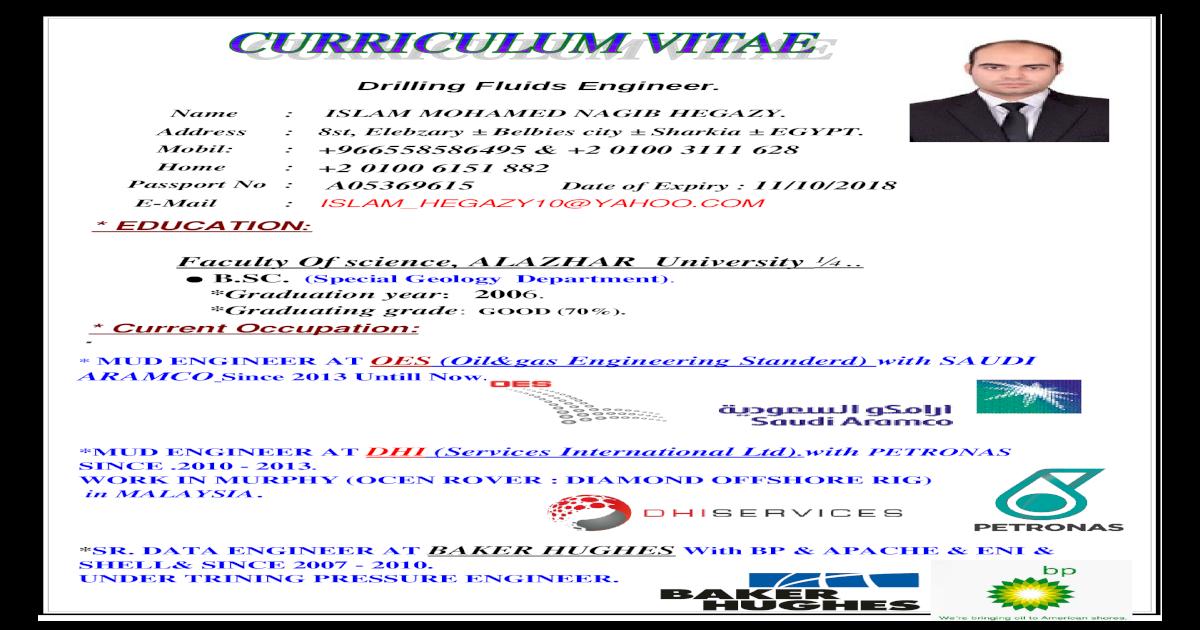 CV Islam Hegazy @12-2015 drilling fluids eng