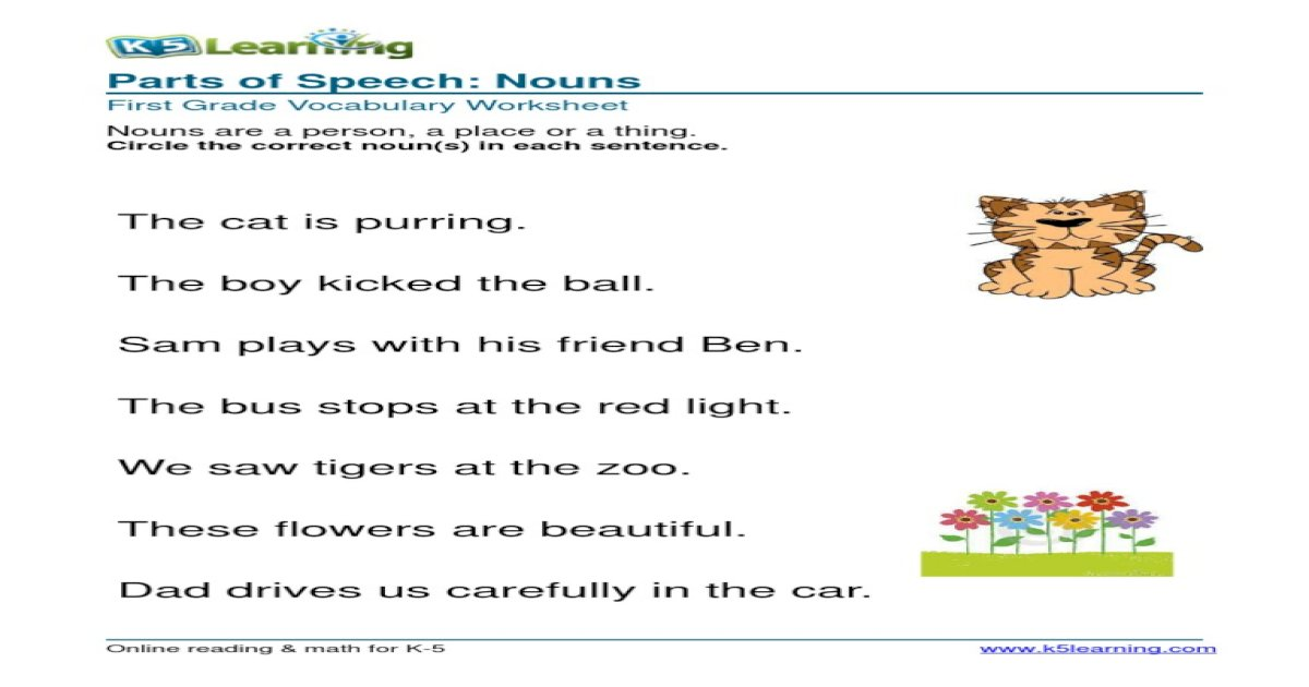 1st Grade Circle Noun 1
