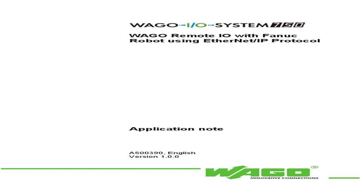 fanuc ethernet to wago IO a500390e pdf